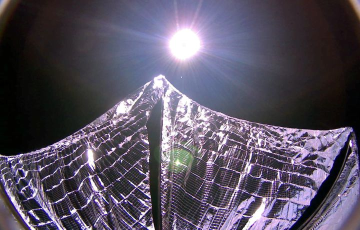 Lightsail image of deployed sails in Earth orbit on June 8, 2015