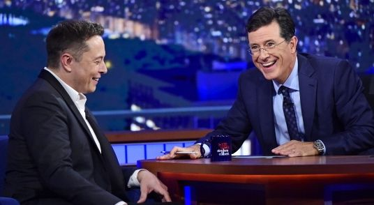Elon Musk and Stephen Colbert