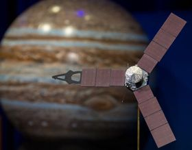 A model of the Juno spacecraft is seen at a news briefing at the Jet Propulsion Laboratory.
