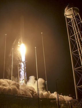 Antares rocket with Cygnus spacecraft.